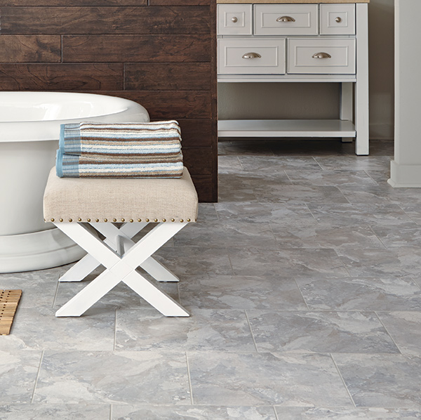 "Adura luxury vinyl tile flooring in 16""x16"" squares and 12""x24"" rectangles"