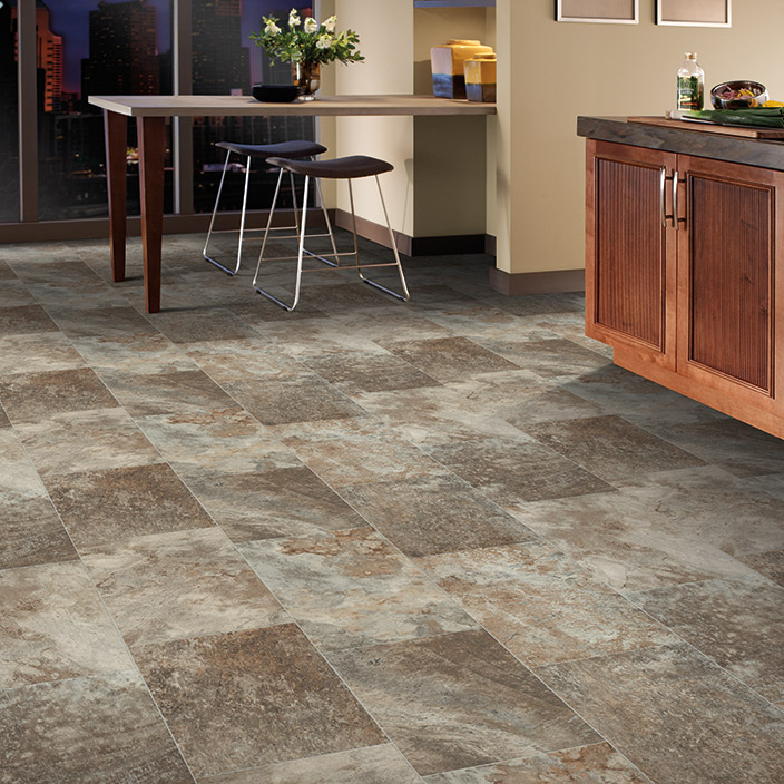 Luxury vinyl flooring in tile and plank styles for Large vinyl floor tiles