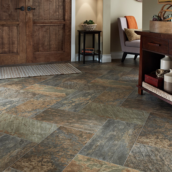Awesome Tile Look Vinyl Part - 4: Luxury Vinyl Sheet Majesty Slate Look Pattern Flooring For Your Home