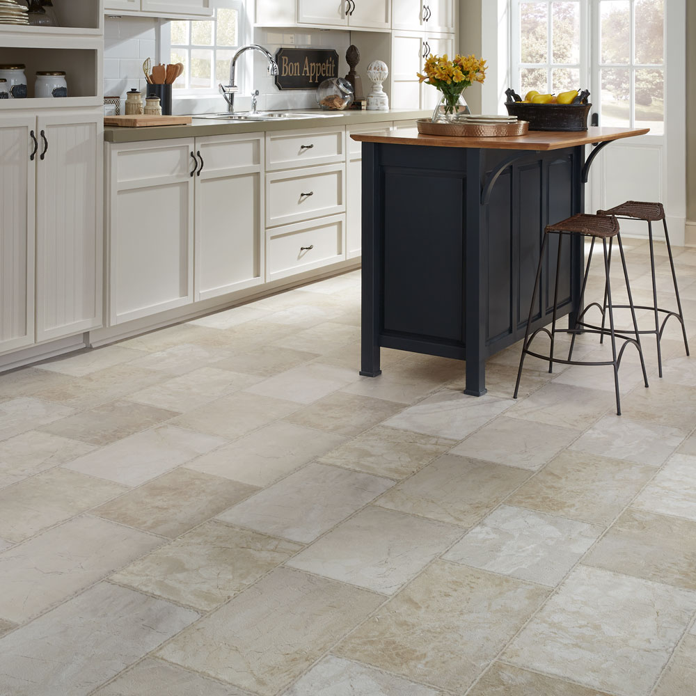 Luxury vinyl flooring in tile and plank styles for Vinyl flooring kitchen
