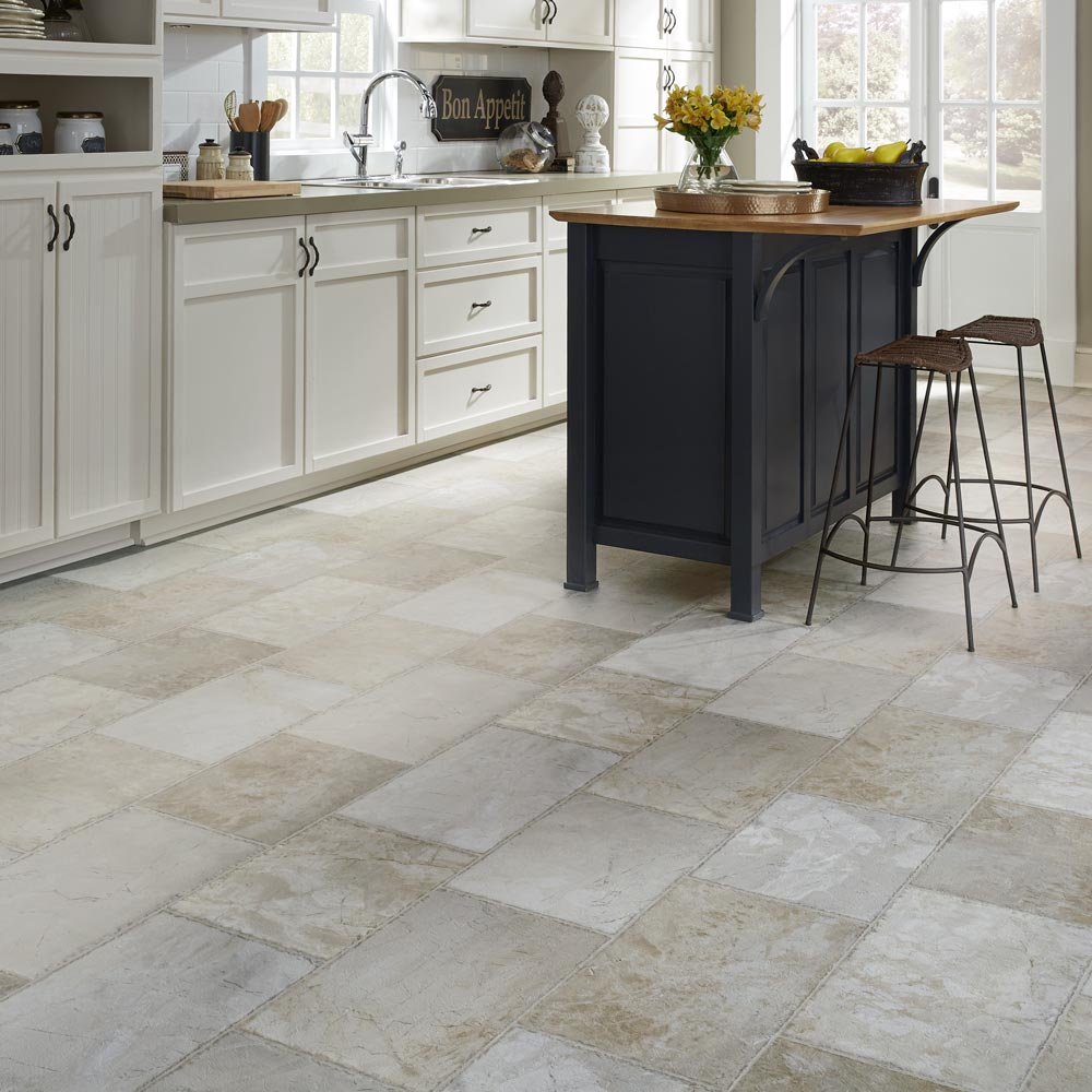 Resilient natural stone vinyl floor upscale rectangular for Luxury vinyl flooring
