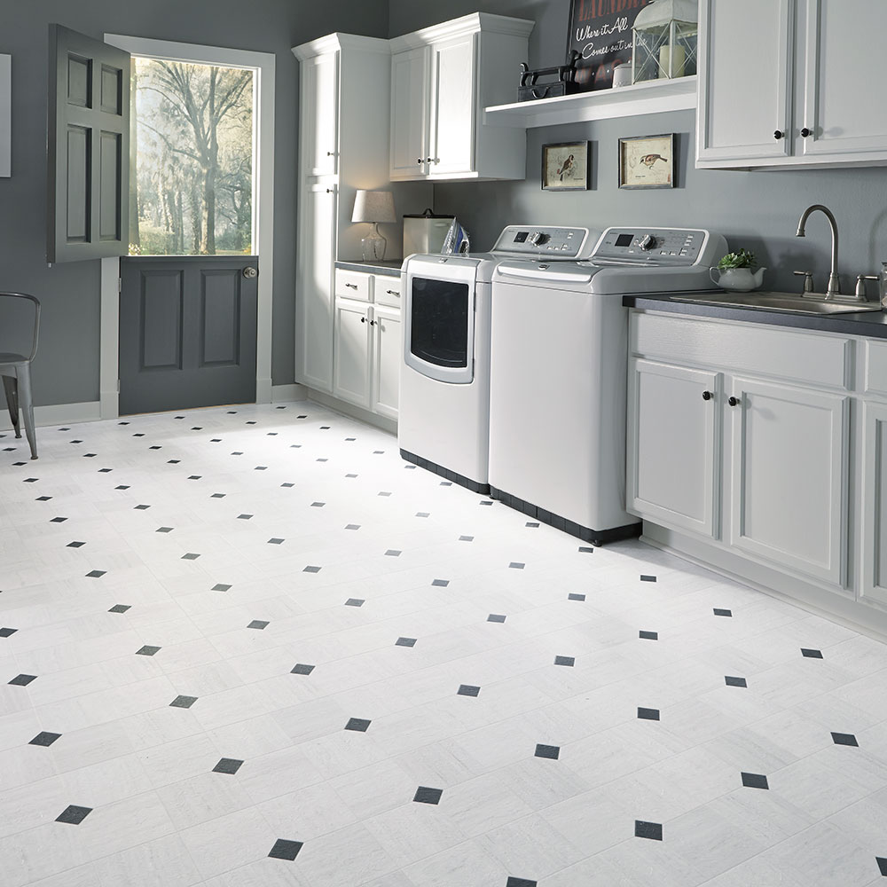Luxury vinyl tile sheet floor art deco layout design for White kitchen vinyl floor