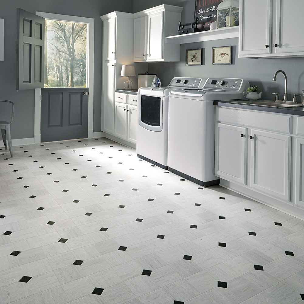 Bathroom floor vinyl tiles - Luxury Vinyl Tile Sheet Floor Art Deco Layout Design Inspiration For Kitchen Bathroom Foyer Dining Laundry Room Space
