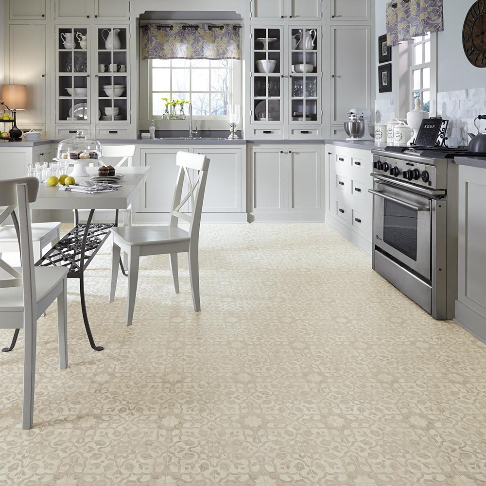 Kitchen Vinyl Flooring Vintage Ornate Design Inspiration Resilient Vinyl Floor For