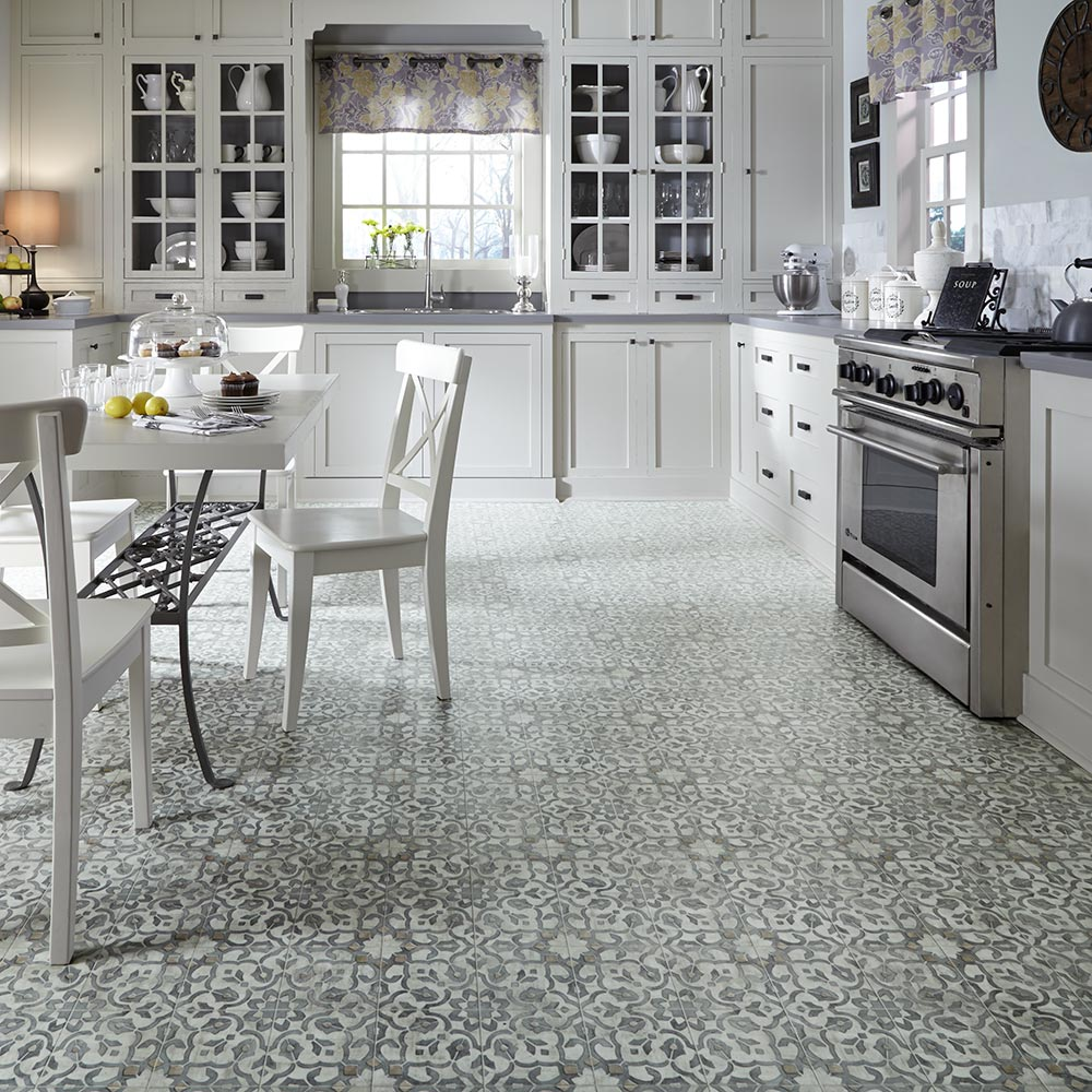 Vintage ornate design inspiration resilient vinyl floor for kitchen bathroom foyer dining room space - Retro flooring kitchen ...