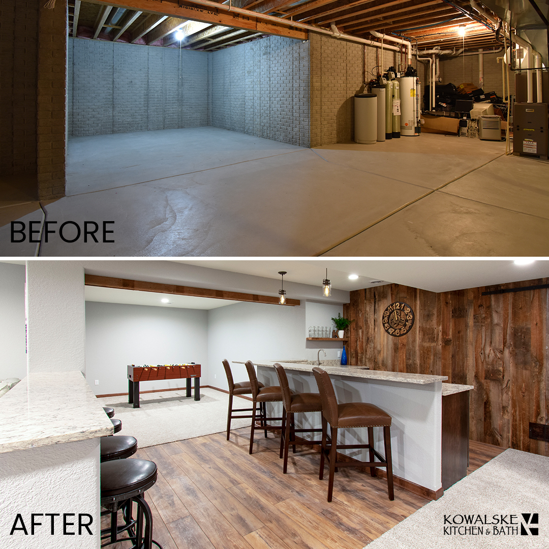 Basement Renovation Before & After