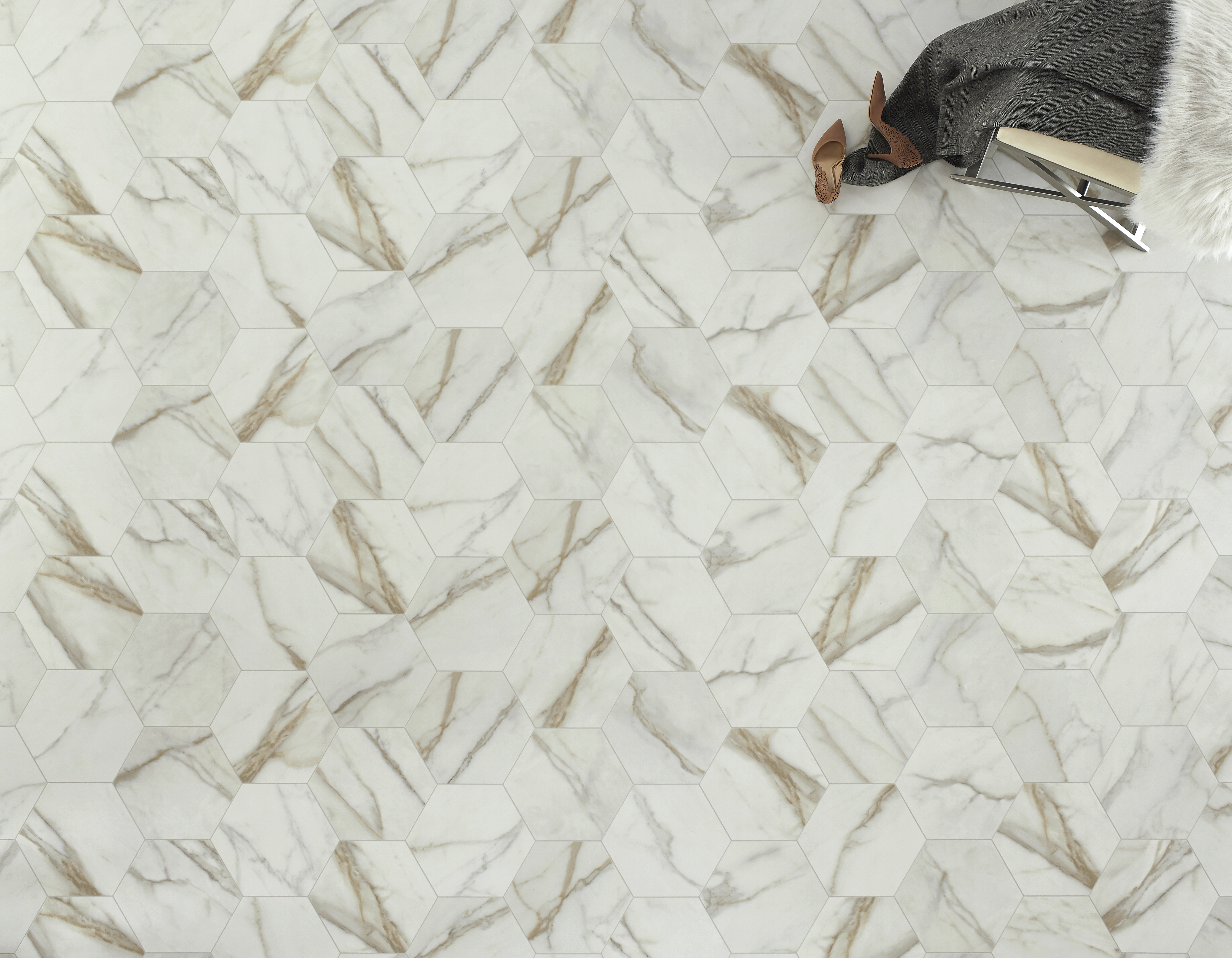 Ivory and Gold Vinyl Sheet Flooring