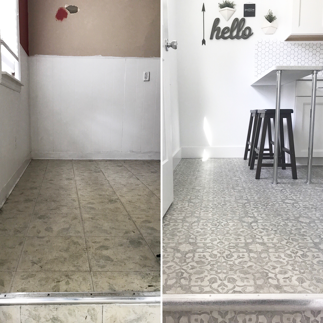 Filigree Vinyl Sheet Flooring For Kitchen