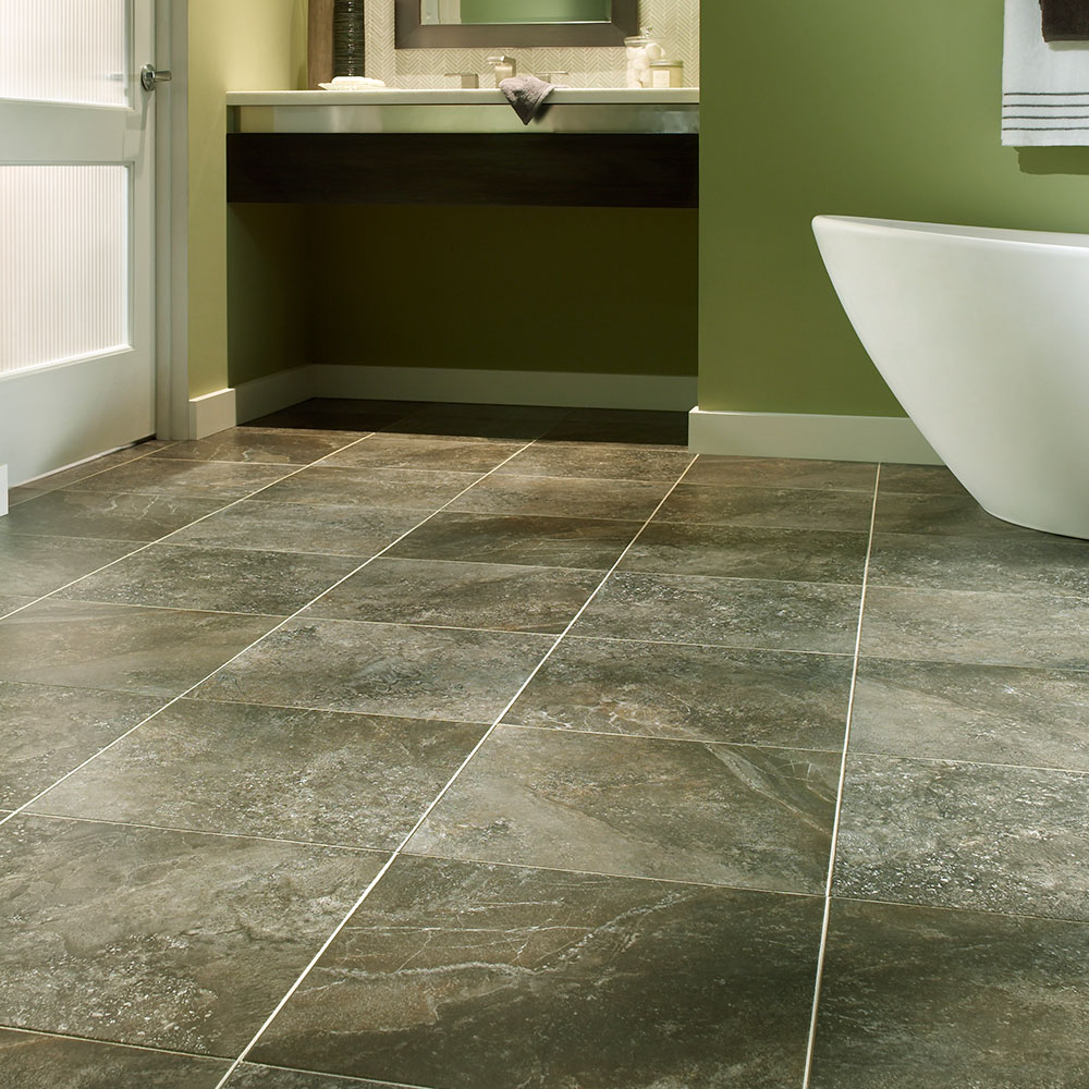 Groutable luxury vinyl tile flooring for Large vinyl floor tiles